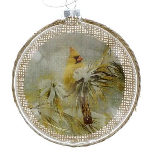 Winter Cardinal Disc Ornament