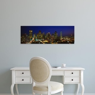 Easy Art Prints Panoramic Images's 'Buildings in a city lit up at night, Dallas, Texas, USA' Premium Canvas Art