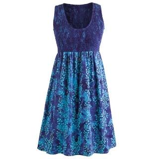 Women's Bali Blue Dress - A-Line Sleeveless Scoop Neck Calf Length