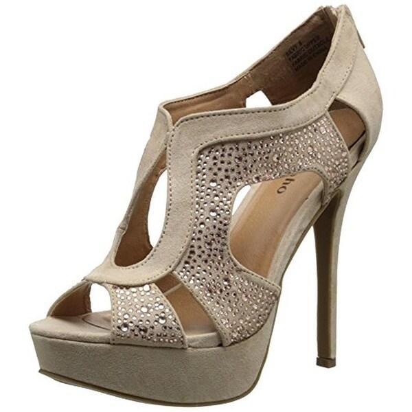 Zigi Soho Womens Silvy Platform Heels Faux Suede Embellished
