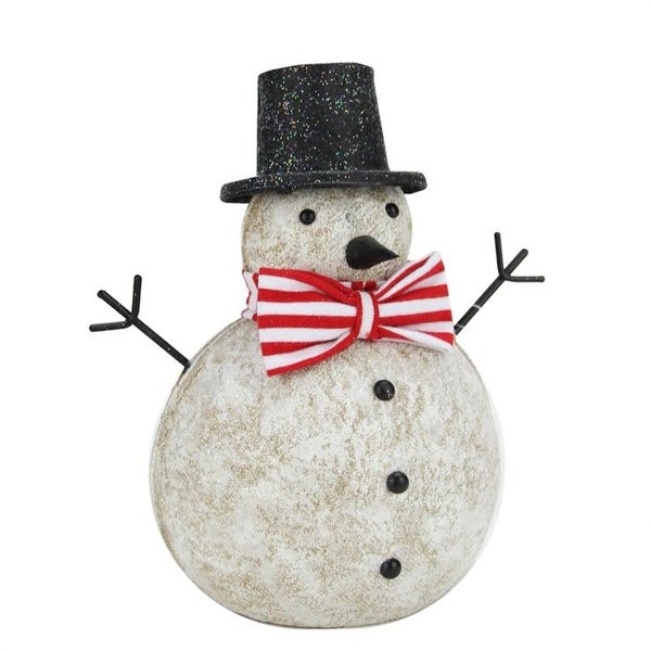 "8.25"" Red and White Glitter Snowman with Top Hat and Bow Tie Christmas Table Top Figure"