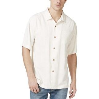 Tommy Bahama Mens Big & Tall Button-Down Shirt Silk Jacquard