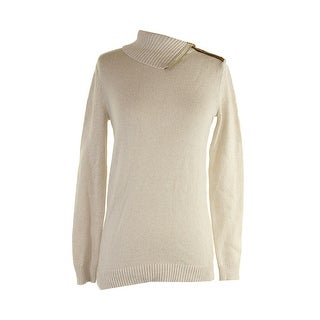 Charter Club Sweet Cream Ribbed Zippered Foldover Collar Sweater S