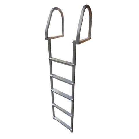 Dock edge aluminum 5 step flip up dock ladder weld free