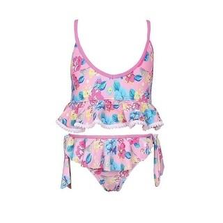 Sun Emporium Little Girls Pink Blue Vintage Blossom Frill Bikini Swimsuit