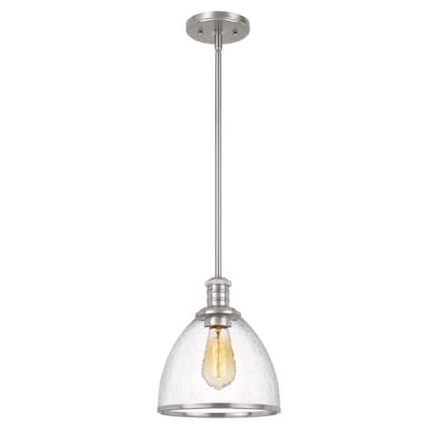 """Cloe 1-Light Brushed Nickel Finish Harmer Glass Pendant 9"""" x9""""x 10.5"""" - Mini Pendant"""