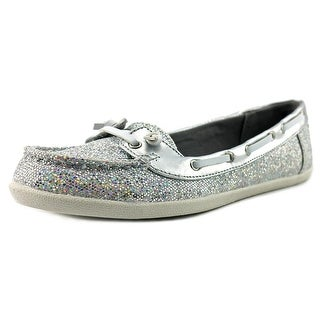 dynasty Sail Youth Moc Toe Synthetic Silver Boat Shoe