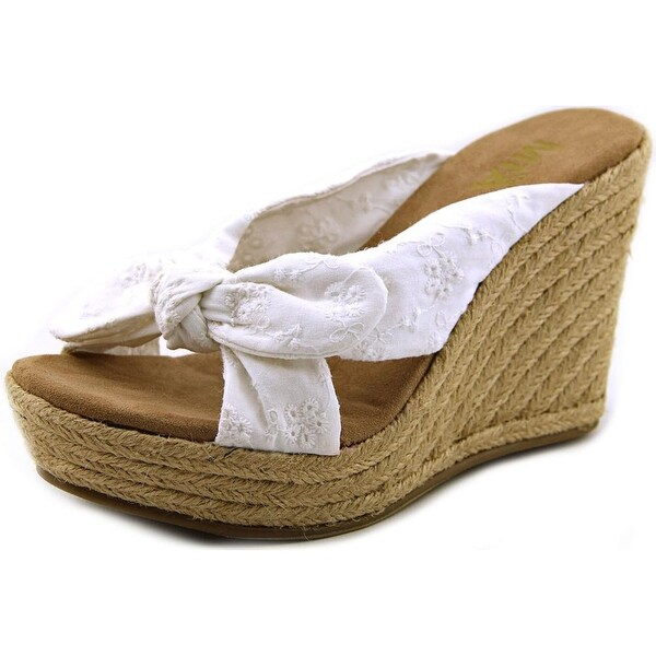 Mia Girl Brenna Women Open Toe Canvas White Wedge Sandal