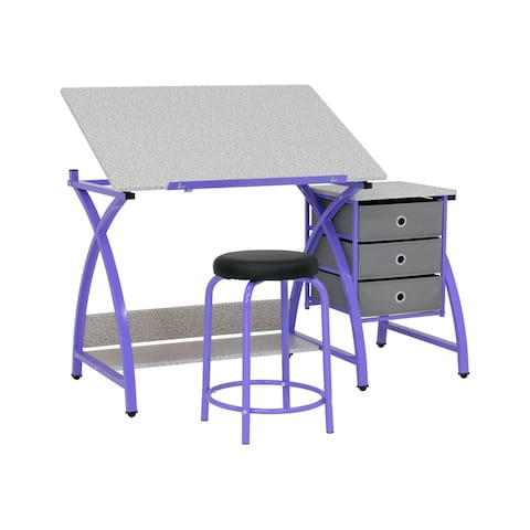 Offex The Comet Center Plus Craft Table w/ Stool - Purple/Spatter Gray