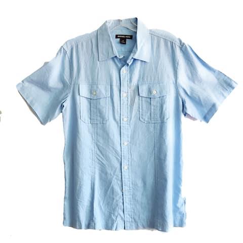 Michael Kors Collar Shirt, Sky Blue, Medium