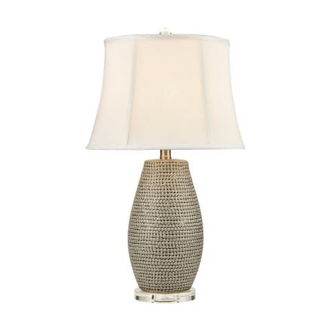 River Spinney - 1 Light Table Lamp Silver Grey Galze/Clear Cryatal/Clear Cryatal Finish with White