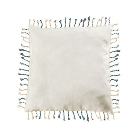 White with Blue Fringes Pillow Cover 24x24-inch Pillow Cover Only White/Blue Colors White/Blue