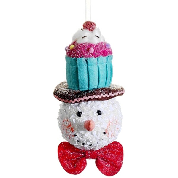 """8.5"""" Cupcake Heaven Glitter Sequined Snowman with Cupcake Hat Christmas Ornament"""