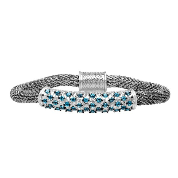 1 1/2 ct Natural Swiss Blue Topaz Bracelet in Sterling Silver