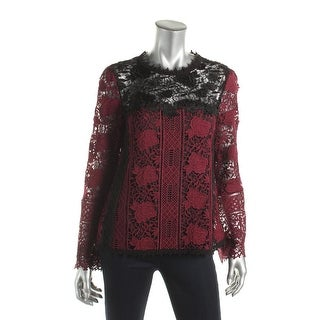 Nanette Lepore Womens Intoxicating Blouse Lace Layered - 8