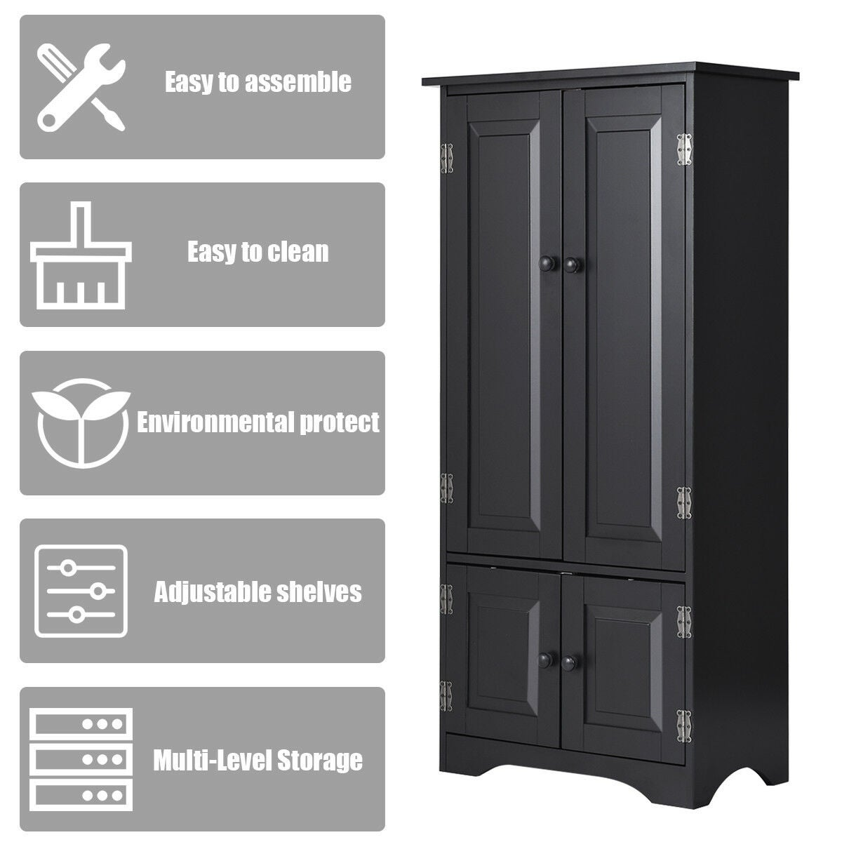 Cool Costway Accent Storage Cabinet Adjustable Shelves Antique 2 Door Floor Cabinet Black Home Interior And Landscaping Staixmapetitesourisinfo