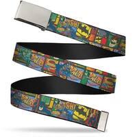 Blank Chrome Buckle Vintage Jla Character Logo Collage Webbing Web Belt