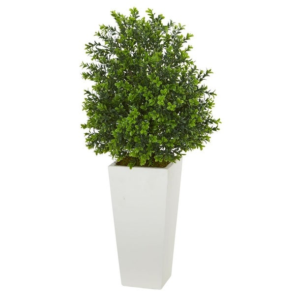 Indoor/Outdoor Sweet Grass Artificial Plant in White Tower Planter