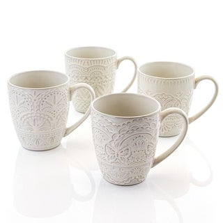 Gibson Elite Pure Elegance 4 Piece 14 Ounce Round Stoneware Mug Set with Assorted Designs