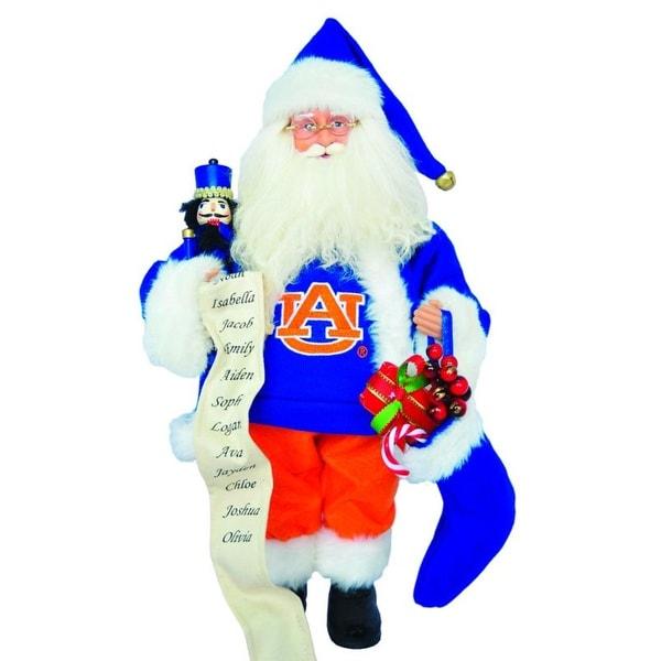"15"" NCAA Auburn Tigers Santa Claus Christmas Figure with Nutcracker and Stocking"