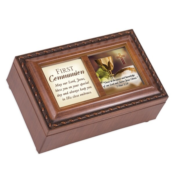 "6"" Brown First Communion Petite Music Locket Box - N/A"