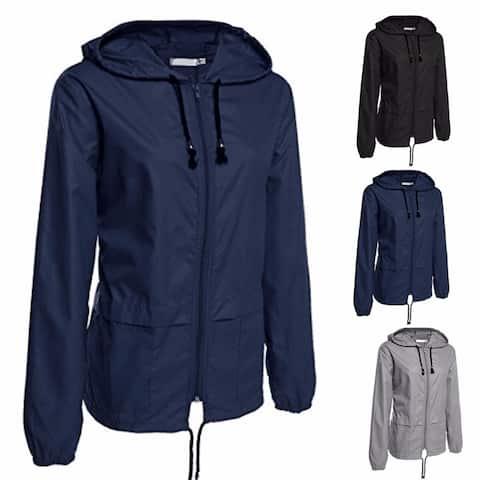 a2dae79379 Women's Lightweight Rain Jacket Outdoor Packable Waterproof Hooded Raincoat