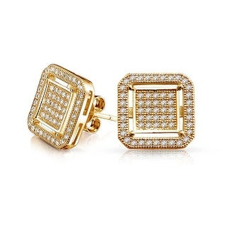 Bling Jewelry Silver Double Box Pave CZ Stud earrings Gold Plated 12mm