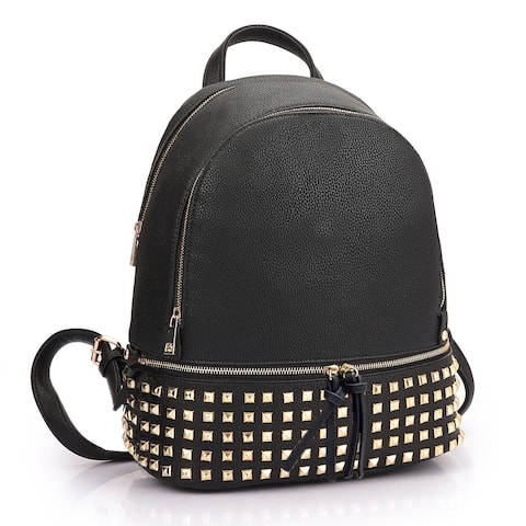 Dasein Women Buffalo Leather Backpack with Studs