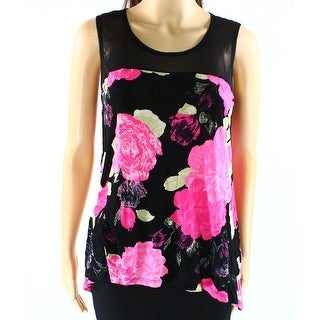 INC NEW Pink Black Womens Size Small S Floral Print Keyhole Tank Top