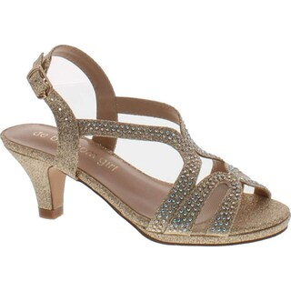 De Blossom Girls K-Stella-3 Stunning Strappy Dress Heel Metallic Party Shoes (2 options available)