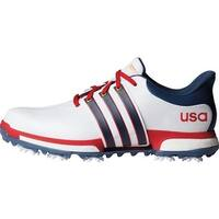 Adidas Men's Tour 360 Boost FTWR White/Mineral Blue/Scarlet Golf Shoes F33512