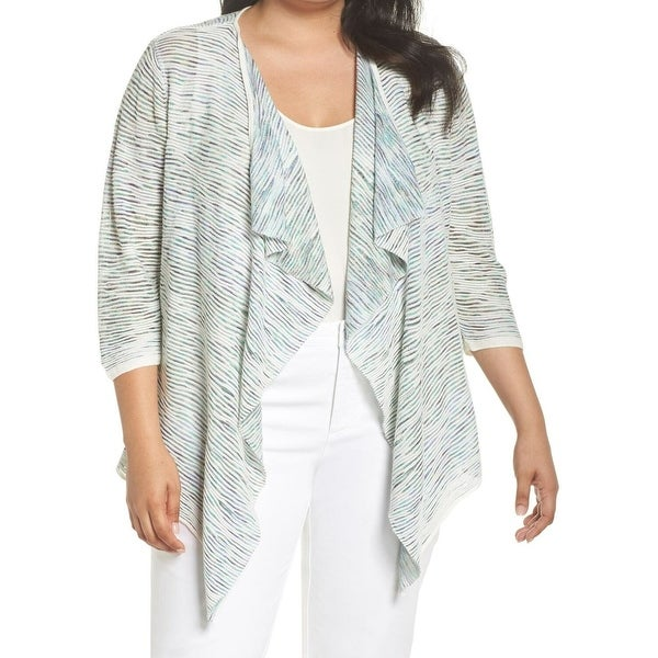 NIC+ZOE Striped Knit Ruffled Womens Large Draped Jacket