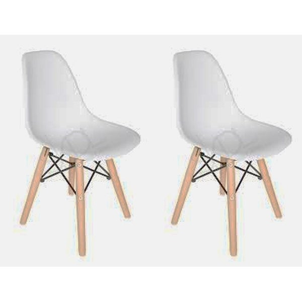 Kids Favourite Eiffel Plastic Dining Chair - Wooden base (set of Two)