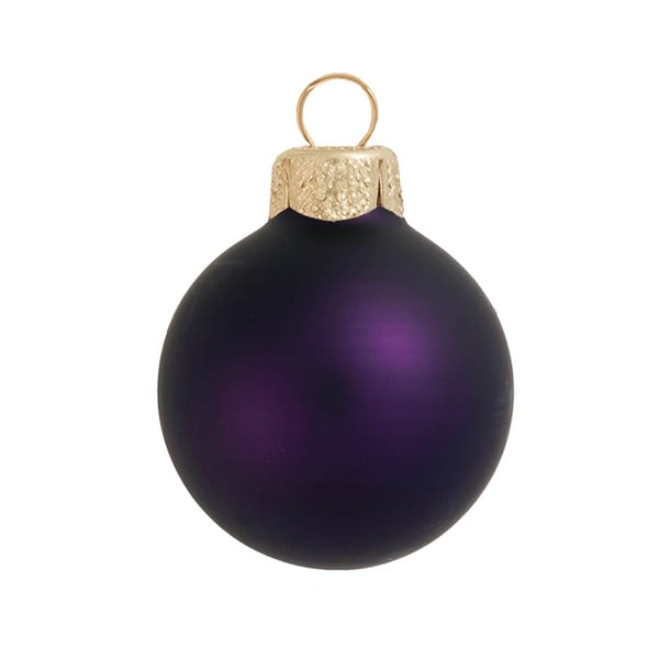"8ct Matte Purple Glass Ball Christmas Ornaments 3.25"" (80mm)"