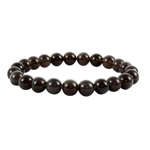 Black Obsidian Beads Stretchable Bracelet Jewelry Gift Ct 83.5