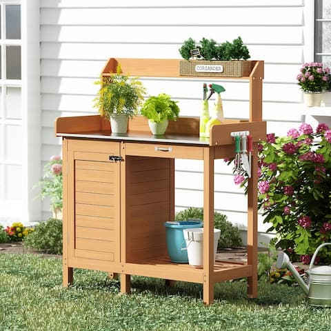 Wooden Potting Bench Tables Outdoor Garden Work Station With Cabinet