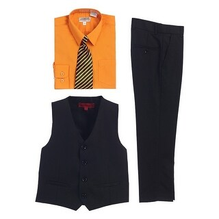 Gioberti Orange Black Vest Pants Striped Tie Shirt 4 Pc Formal Set