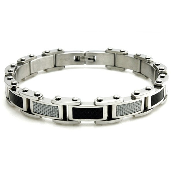 Stainless Steel Black & White Carbon Fiber Inlay Link Bracelet - 8.5 inches