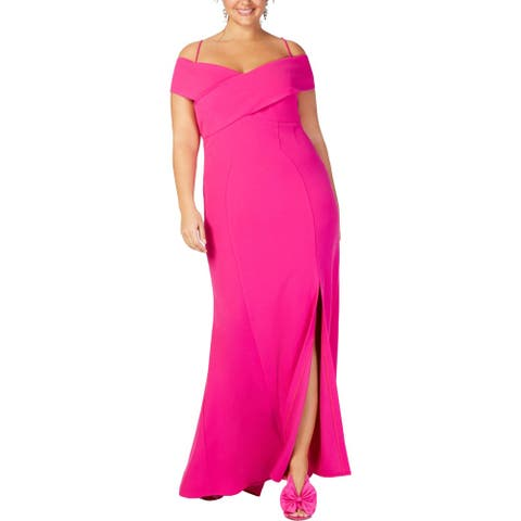 NW Nightway Womens Plus Evening Dress Cold Shoulder Sweetheart