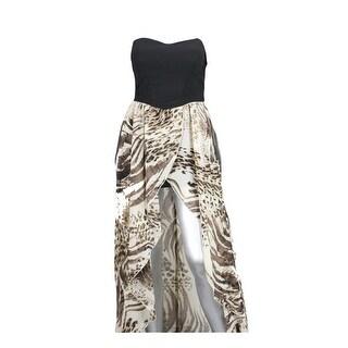 Ruby Rox Black/Beige Animal-Print Overlap Lace Tube Dress 7