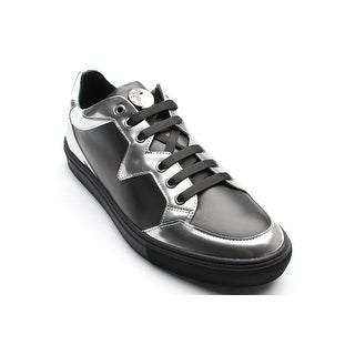 New Auth Versace Collection Men's Leather Medusa Low Top Sneaker Shoes Black Silver White