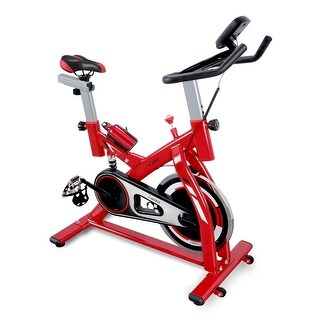 AKONZA Height Adjustable Cycling Stationary Bicycle Indoor Gym Exercise with Water Bottle and LCD Monitor, Red