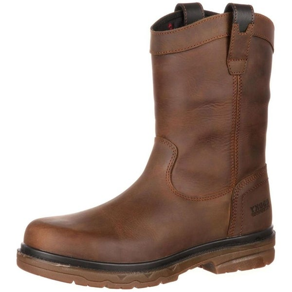 "Rocky Work Boots Mens 10"" Elements Shale Waterproof ST Brown"