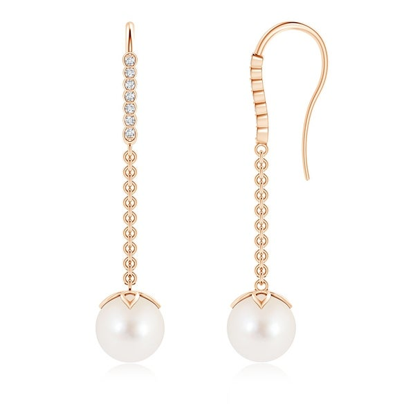 Angara 8mm Long Dangling FreshWater Cultured Pearl Earrings with Fish-Hook Diamonds