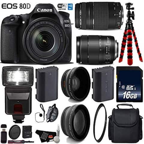 Canon EOS 80D DSLR Camera with 18-135mm is STM Lens & 75-300mm III Lens + Flash + Card Reader bundle - Intl Model