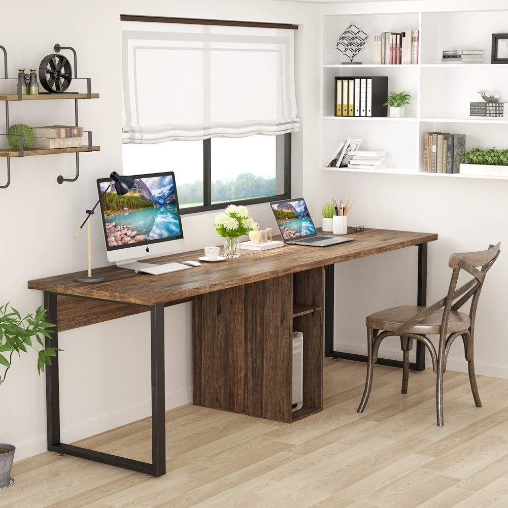 78 Extra Large Double Workstation Computer Desk For Two Person Simple Modern Style Office With Storage And Cabinet