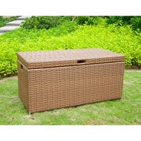 "40"" Honey Brown Resin Wicker Outdoor Patio Garden Hinged Lidded Storage Deck Box"