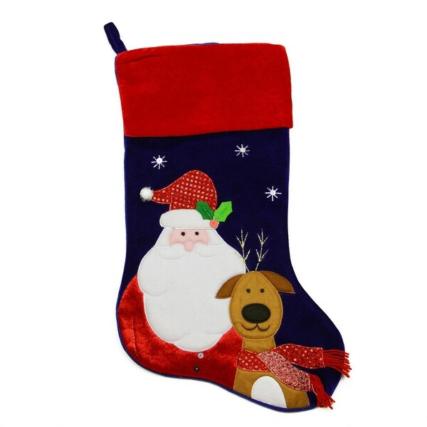 "24"" Large Dark Blue Velveteen Santa Claus and Reindeer Christmas Stocking with Red Cuff"