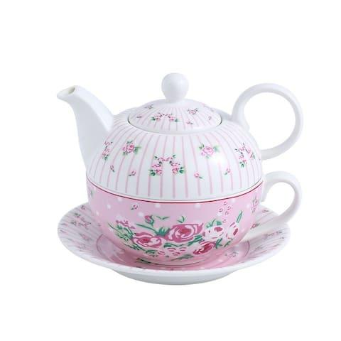 MALACASA 11 Oz. 4-Piece Porcelain China Tea for One Set - 6.5