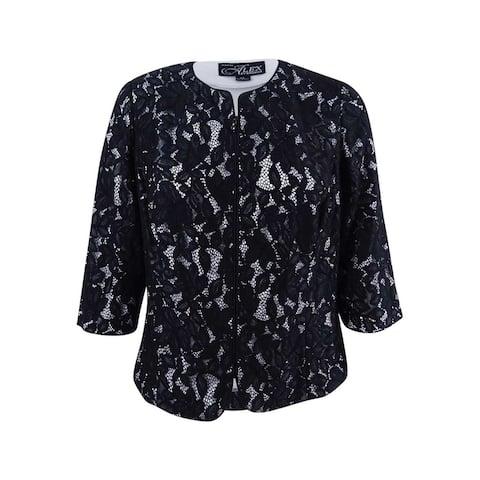 Alex Evenings Women's Lace Zip Jacket - Black/Silver